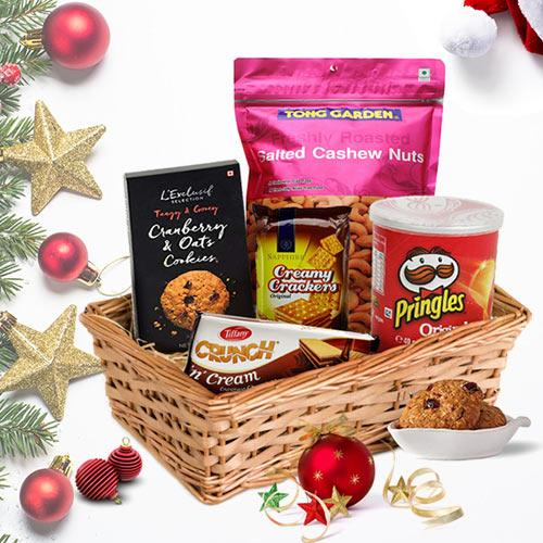Christmas Basket with Sweet and Salty Treats