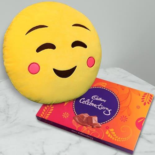 Beautiful Emoji Hanging Cushion with Cadbury Celebration