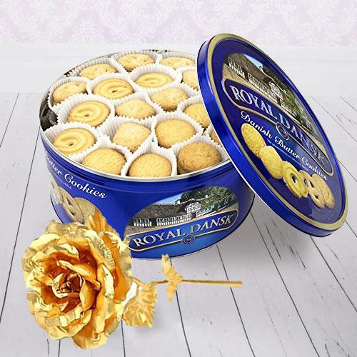 Delish Cookies and Gold Rose Christmas Gift Pack