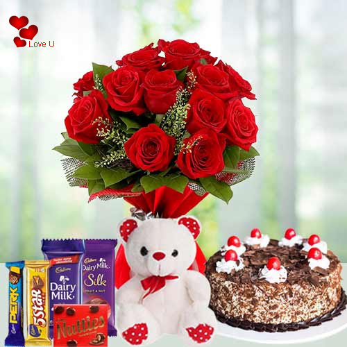Send Online Bouquet of Red Roses with Chocolates N Teddy