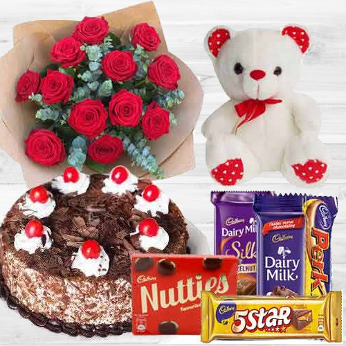 Awesome Bouquet Of 12 Dutch Red Roses With 1 Lb Cake Mixed Cadburys Chocolates And