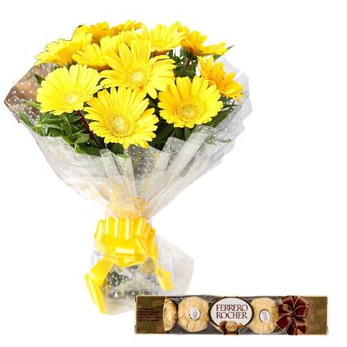 Order Online Yellow Gerberas with Ferrero Rocher Chocolates