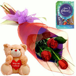 Blissful Mini Cadbury Celebrations Pack with Small Teddy N Red Roses Bunch