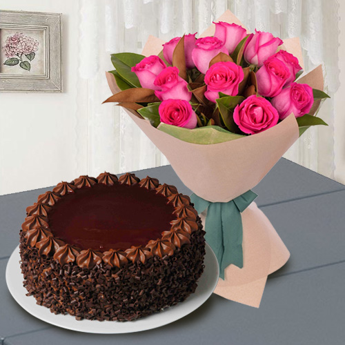 Online Order Red Roses N  Chocolate Cake