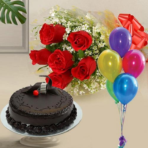 Online Combo Gift of Chocolate Cake, Red Roses N Balloons