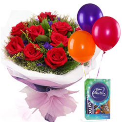 Online Order Red Roses Bouquet with Cadbury Mini Pack N Balloons