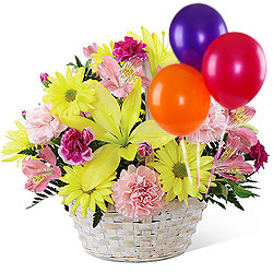 Shop Mixed Flower Basket and Colorful Balloons Online