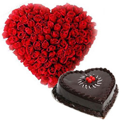 Gift Red Roses N Chocolate Truffle Cake in Heart Shape Online