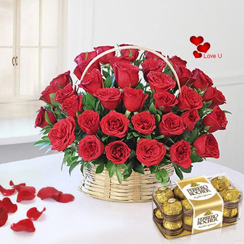 Deliver Red Roses Basket N Ferrero Rocher for Rose Day