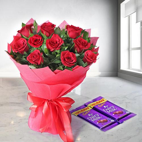 Gift Red Rose Bouquet with Dairy Milk Chocolates Online