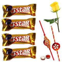 Cadburys 5 Star with 2 Rakhi with One Yellow Rose