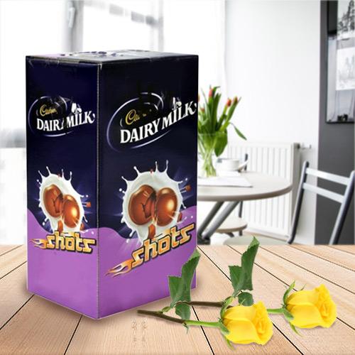 Cadburys Chocolate Shots with Two Yellow Rose