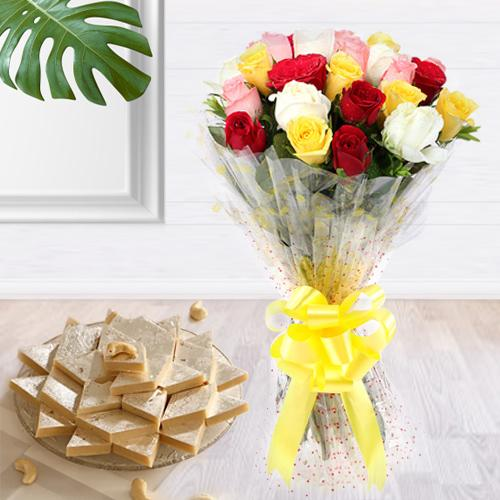 Deliver Combo of Mixed Roses Bouquet and Kaju Katli Online