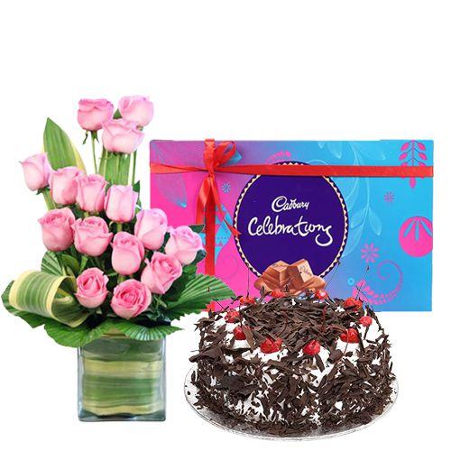 Online Gift Combo of Cake, Roses and Cadbury Celebration