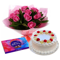 Online Deliver Pink Rose Arrangement with Cake and Cadbury Celebration