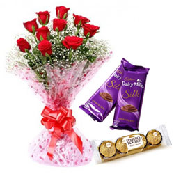 Order Bouquet of Red Rose, Ferrero Rocher and Dairy Milk Silk Online