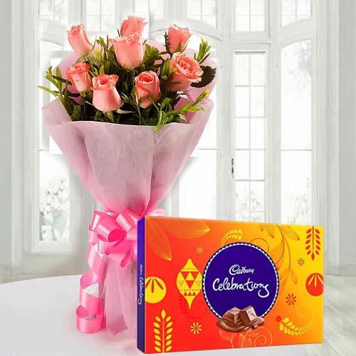 Send Red Rose Bouquet and Cadbury Celebration Online