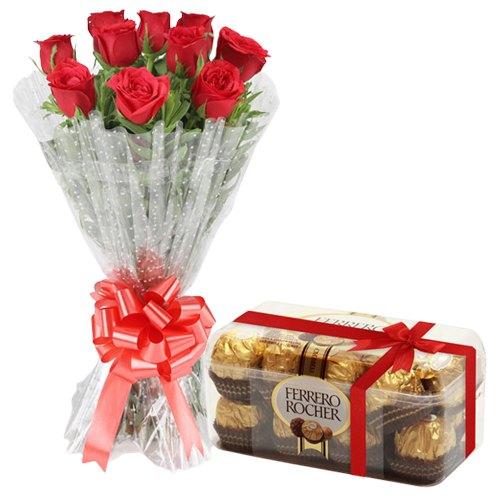 Online Combo Gift of Red Rose Bouquet N Ferrero Rocher Chocolates