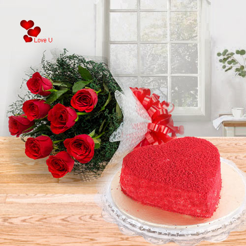 Heart Shape Red Velvet Cake with Red Rose Bouquet for Valentines Day