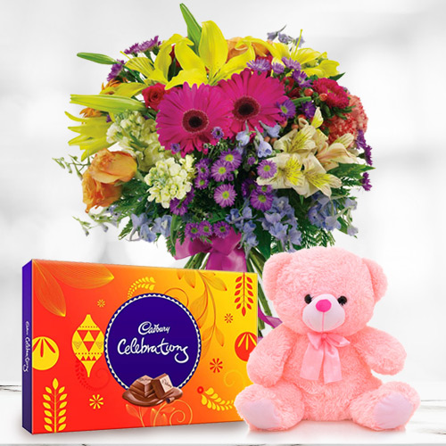 Send Mixed Flowers in a Vase with Cadbury Celebration and Teddy Online