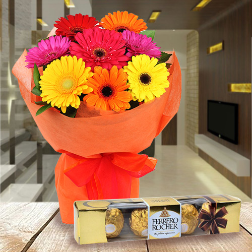 Gift Deliver of Gerbera Bouquet with Ferrero Chocolate