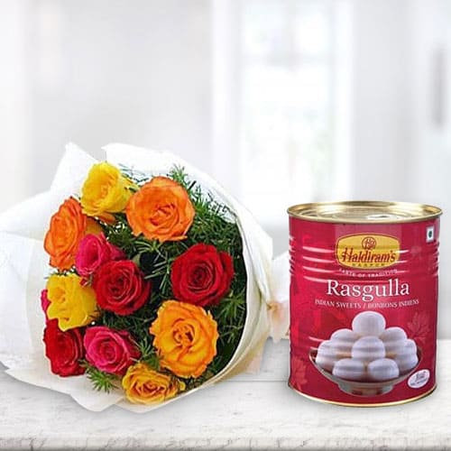 Order Online Mixed Roses with Haldiram Rasgulla