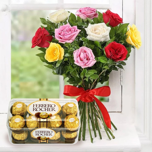 Deliver Online Ferrero Chocolate with Mixed Roses