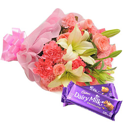 Online Deliver Mixed Flower Bouquet and Cadbury Celebration