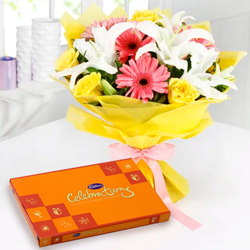 Send Cadbury Celebration and Mixed Flower Bouquet Online