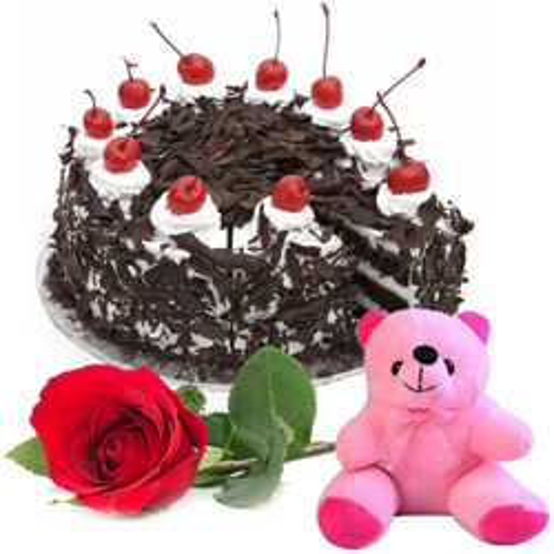 Online Deliver Black Forest Cake with Rose N Teddy