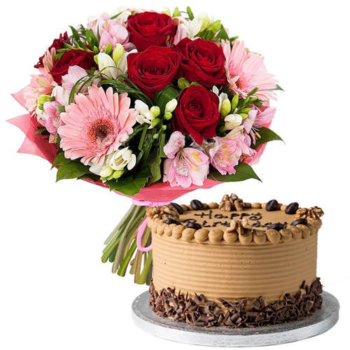 Gift Mixed Flowers Bouquet with Coffee Cake Online