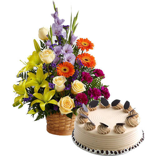 Buy Coffee Cake N Mixed Floral Arrangement Online