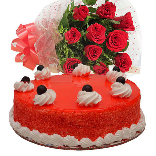 Online Order Red Roses Bouquet with Red Velvet Cake