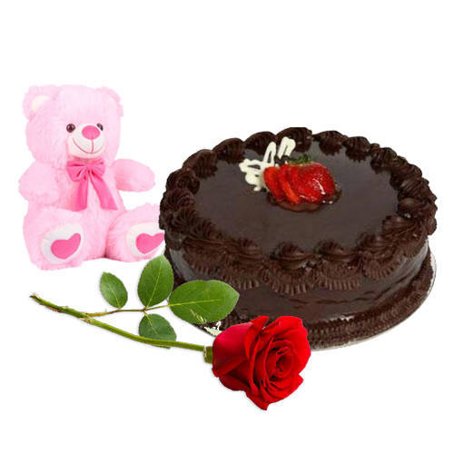 Deliver Online Chocolate Cake with Teddy N Red Rose