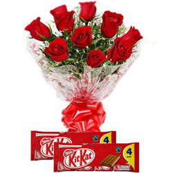 Beautiful Combo of Red Roses Bouquet with Nestle Kit Kat