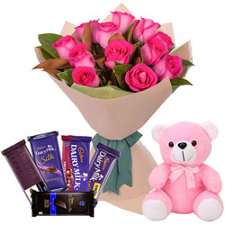 Joyful Combo of Pink Roses Bouquet with Mixed Cadbury Chocolates N Small Teddy