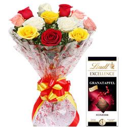 Beautifully Arranged Colorful Roses with Lindt Excellence Bar