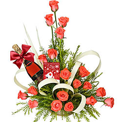 Majestic Arrangement of Pink Roses and a Bottle of Sparkling Fruit Juice