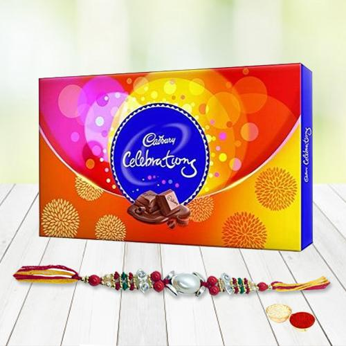 Rakhi, Roli Tilak and Chawal with Cadburys Celebration pack