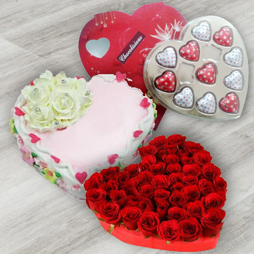 Exciting 24 Red Roses, Heart Shaped Chocolate Box and 1 Lb Heart Shaped Cake