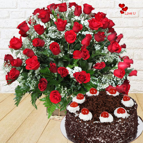 Gift Red Roses N Black Forest Cake Online