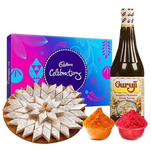 Kaju Katli with Thandai and Cadburys Celebration