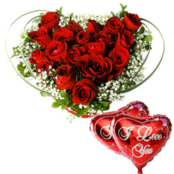 Gift Heart Shape Red Roses Arrangement N I Love U Balloons Online