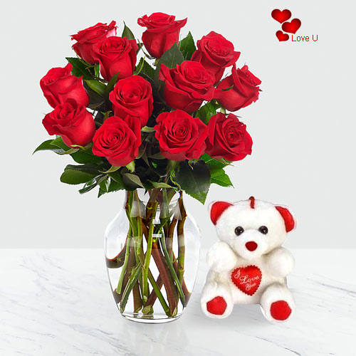 Deliver Red Roses in a Vase with Teddy for Rose day