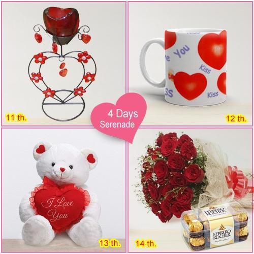 Deliver Online 4 Day Serenade Gifts for V-day