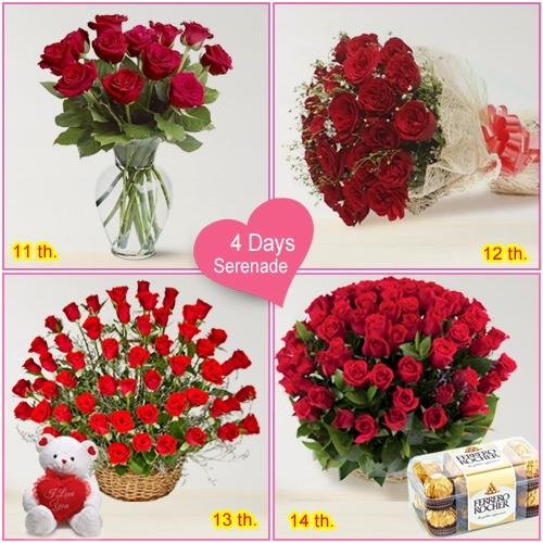 Exquisite 4-Day Serenade Items for Valentines Day