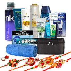 Breathtaking Daily Routine Care Kit with 4 Rakhis and Roli Tilak Chawal