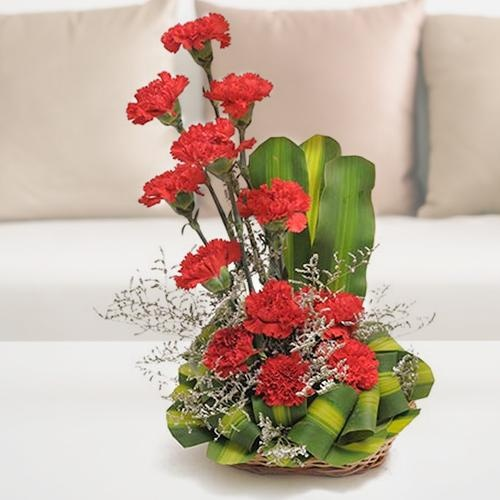 Mothers Day Flowers- Arrangement of 12 Red Carnation