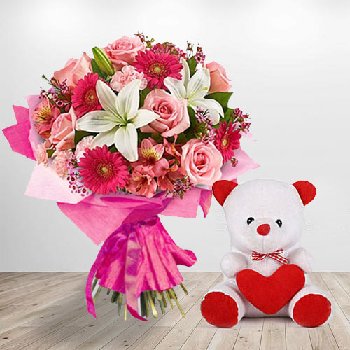 Shop Online Teddy Bear and Assortment of Flowers