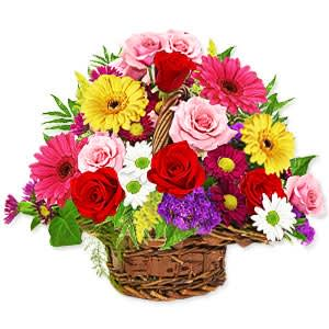 Online Deliver Basket of Mixed Flowers